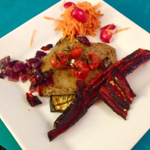 Vegan chicken schnitzel with chargrilled veggies